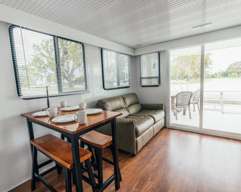 living room in houseboat